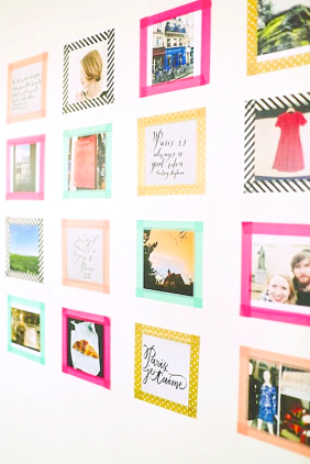 Bee Unique {inaworldofbees} washi-tape-gallery-wall